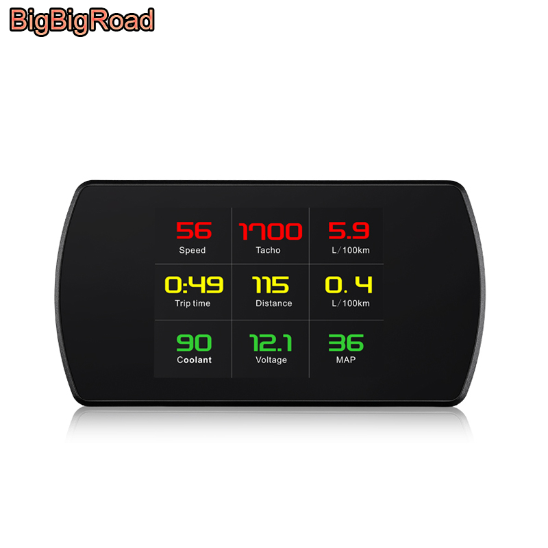 BigBigRoad Car OBDII 2 HUD Head Up Display Speed Windscreen Projector For Suzuki Grand Vitara Swift Jimny sx4 voltage Fuel warn bigbigroad car obdii 2 hud head up display windscreen projector for mitsubishi asx mirage triton outlander montero lancer