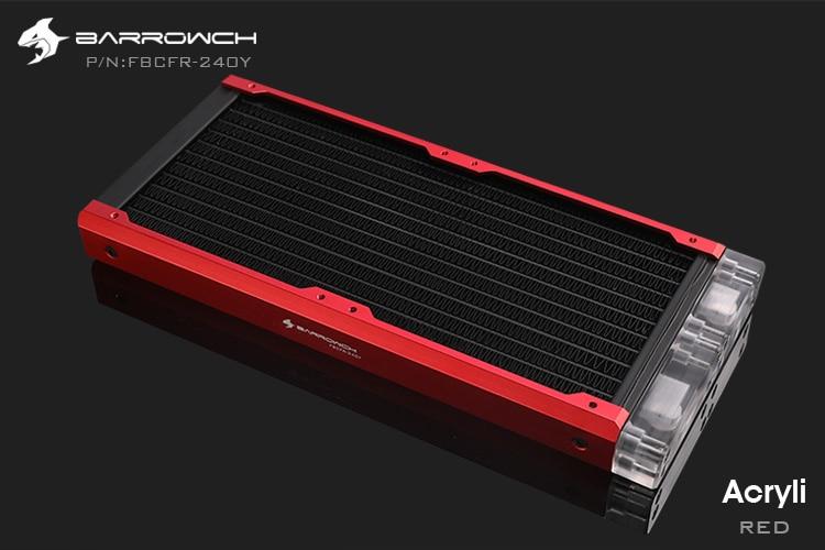 Barrowch FBCFR-240, хамелеон рыбы модульные 240 мм радиаторы, акрил/Пом съемные радиаторы, подходит для 120 мм вентиляторов - Цвет лезвия: Acrylic-Red