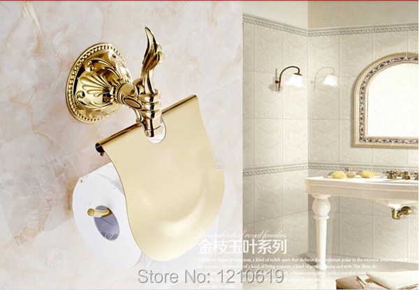 Newly US And Retail Vintage Style Golden Polished Bathroom Toilet Paper Holder With Cover Tissue Rack