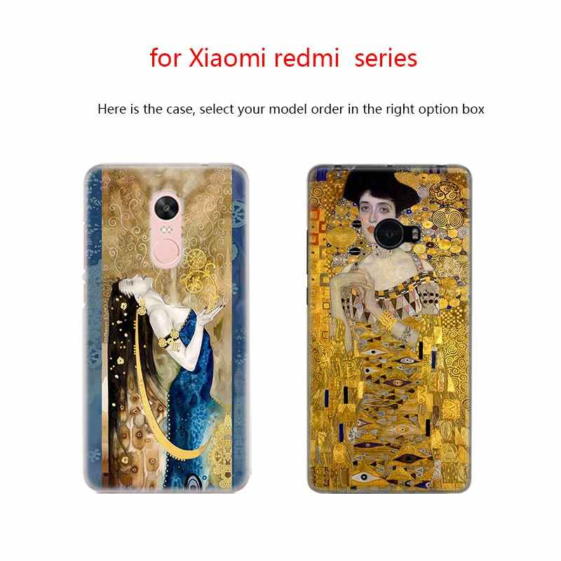 BinFul telefone caso capa Dura Transparente para Xiao mi mi mi Vermelho Nota 7 5 4 3 4X 5A 6 pro 64g S2 Além de Gustav Klimt beijo Pintura