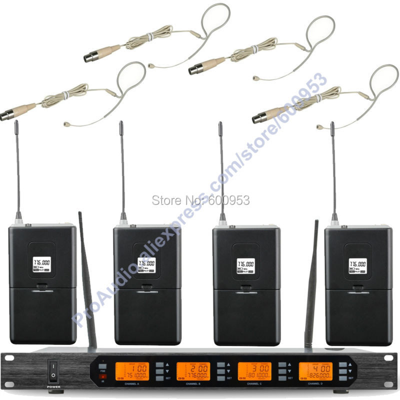 MICWL Audio M400-4BH UHF 4x100 Channel Digital 4 Beige Single ear Headset Wireless Microphone Mic System micwl 4x100 channel uhf wireless karaoke microphone system 4 bodypack transmitter with 4 headset mic
