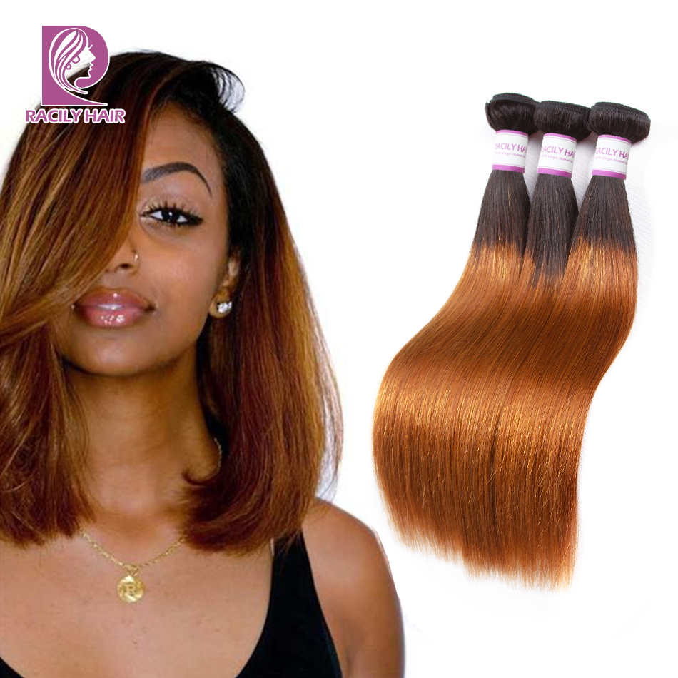 Racily Hair T1B/30 Ombre Peruvian Straight Hair Weave Bundles Deals 1/3/4 Pieces Brown Hair Bundles Remy Human Hair Extensions