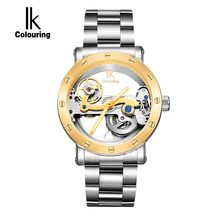 IK Luxury Automatic Mechanical Watches Men Silver Genuine Leather Skeleton Watch Clock Military Sport Watch relogios
