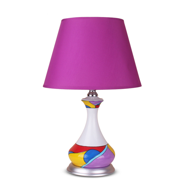 Post Modern Art Table Lamps Hand Drawing Pattern Purple Cloth Lampshade Kids Room Bedroom Home Decoration Desk Reading Lamp