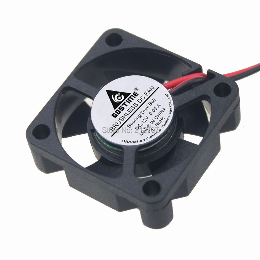 2 Pieces Gdstime 12V 2Pin 3cm 30mm x 30mm x 10mm Ball Bearing Brushless DC Cooling Fan 3010 gdstime 2 pcs 75mm x 15mm brushless 12 v 2pin dc cooling blower fan 7515 7cm 75x15mm 7 5cm