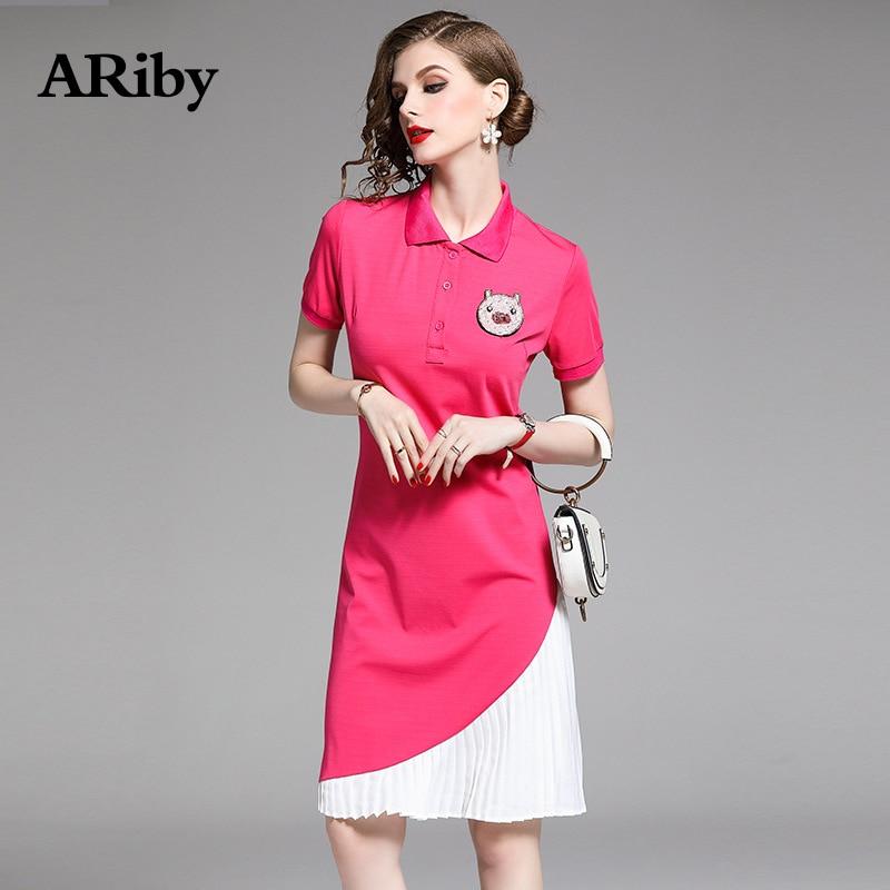 Women Dress 2019 Summer New Fashion Casual Lady T shirt Dress Lapel Short Sleeve Pig Stitching Pleated Knee Length Dress Vestido