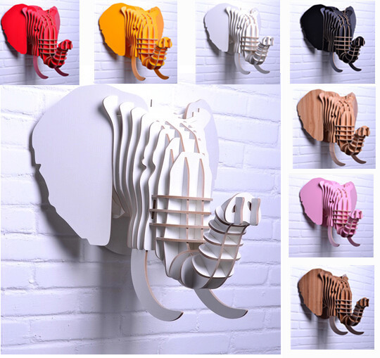 Carved wooden lucky elephant head hanging wall decor,Fashion Europe DIY wood crafts animal head art home decor Real HS-20