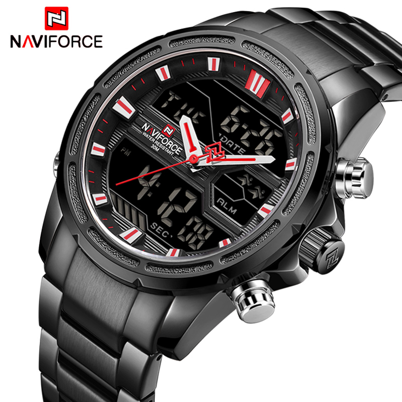 Top Luxury Brand NAVIFORCE Men Military Sport Watch Men Stainless Quartz Watches LED Digital Analog Male Clock Relogio Masculino naviforce men watch digital analog sport mens watches top brand luxury military stainless steel led quartz male clock box 9093
