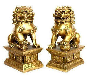 Chinese Old pair of tibet brass statue foo dogs/Lions decoration brass factory outlets