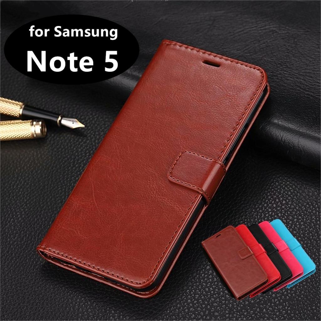 Card Slot Phone Holder PU Leather <font><b>Case</b></font> for <font><b>Samsung</b></font> Galaxy <font><b>Note</b></font> <font><b>5</b></font> <font><b>Flip</b></font> Cover <font><b>Case</b></font> for <font><b>Samsung</b></font> Note5 N9200 Retro Phone Shell image