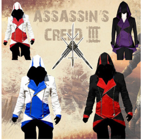 Frete grátis Assassins Creed 3 III Conner Kenway Hoodie Jacket Assassins Creed assassino Connor Cosplay traje casaco