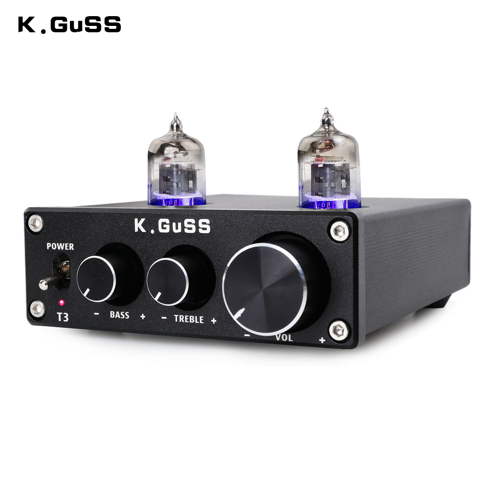 NEW K.GuSS T3 MINI Bile 6J1 Preamp Tube Amplifier Buffer HIFI Audio Preamplifier Treble Bass Adjustment Pre-amps DC12V
