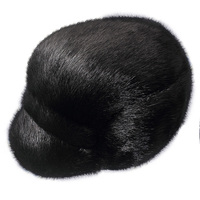 ZDFURS* men mink fur hat Men's Genuine Mink Fur Cap Winter Warm Top Hat Headgear Beanie Beret Newsboy Cap