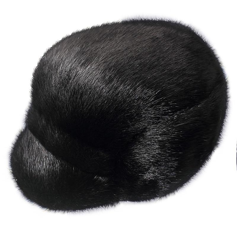 ZDFURS* men mink fur hat Men's Genuine Mink Fur Cap Winter Warm Top Hat Headgear Beanie Beret Newsboy Cap