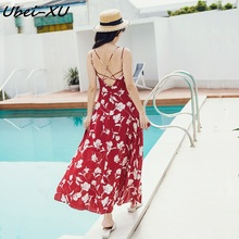 Ubei 2019 new beach strapless dress resort sexy backless red print chiffion summer long holiday women