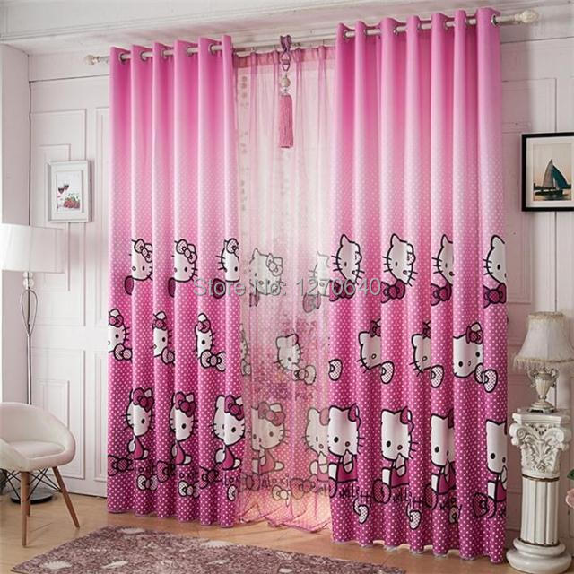 Baby Nursery Curtains Pink Curtains Kids Curtains Pair: Korean Style Nursery Cartoon Cortinas Pink Blackout