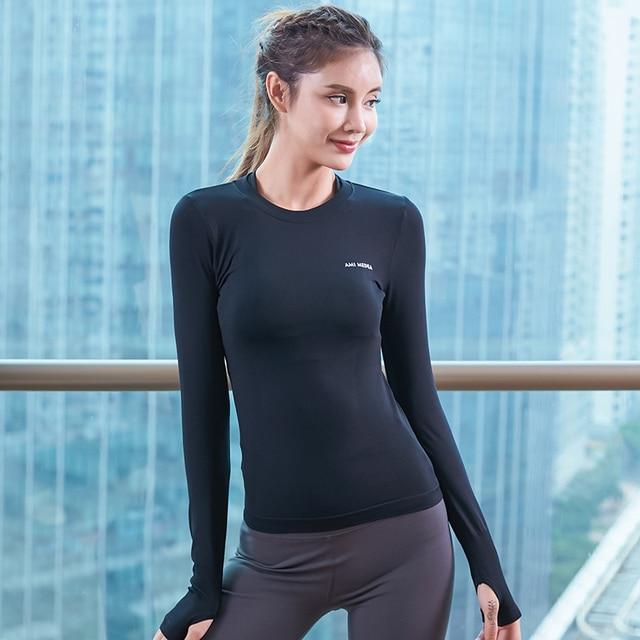 quite nice choose best new design US $12.5 20% OFF Aliexpress.com : Buy Autumn winter long sleeve yoga tops  women fitness shirt black quick dry sport jerseys yoga shirt slim running  ...