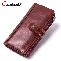 CONTACT S NEW 2018 Women Wallets Genuine Leather Wallet Coin Purse Card Holder Long Clutch Wallet
