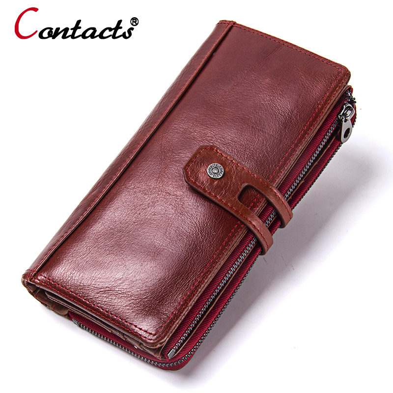 CONTACT'S NEW 2018 Women Wallets Genuine Leather Wallet coin purse card holder Long Clutch Wallet Fashion Female Purse Phone Bag new high quality fashion brand leather women wallets long thin ladies coin purse cards holder clutch bag magic wallet female