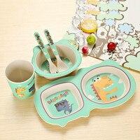 Baby Bamboo Fiber 5 Pcs/Set Tableware Set Baby Cartoon Plate Separation Plate Bowl Fork Spoon Cup Set Creative Feeding Supplies