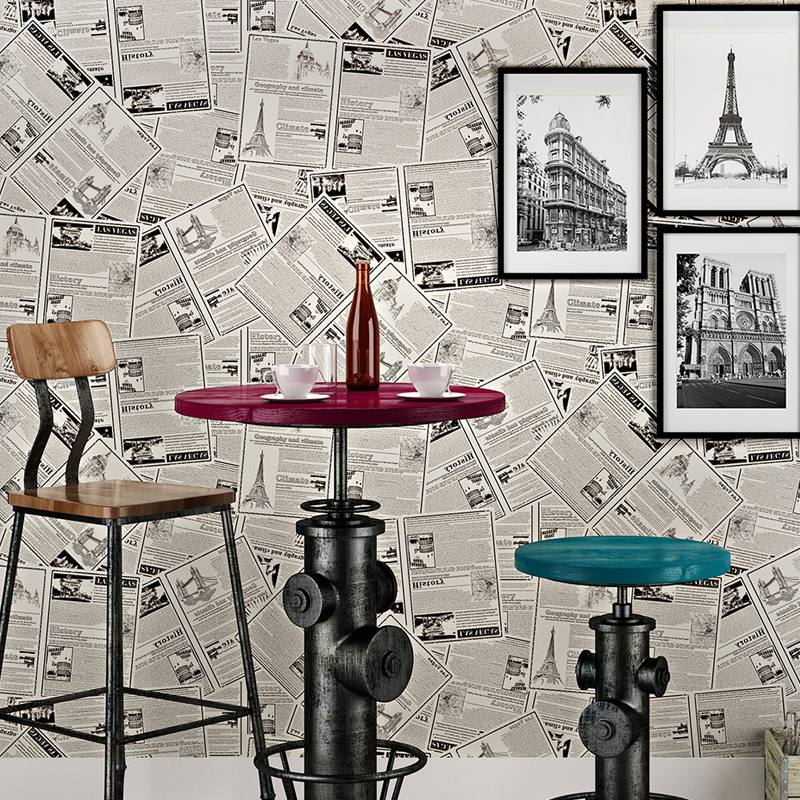 beibehang papel de parede  non-woven retro wallpaper living room bedroom full of old newspaper shop den den entrance backdrop beibehang papel de parede modern minimalist color vertical stripes non woven living room bedroom full shop wallpaper backdrop