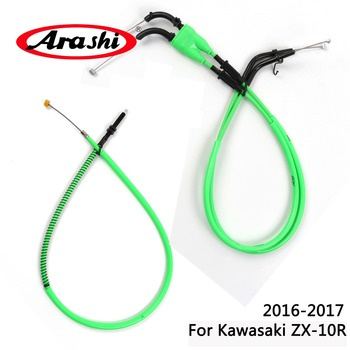 Arashi For KAWASAKI ZX-10R Ninja 2016-2017 Throttle Line Clutch Cable Steel Wire Set ZX 10R ZX10R 2016 2017 Oil Brake Cables