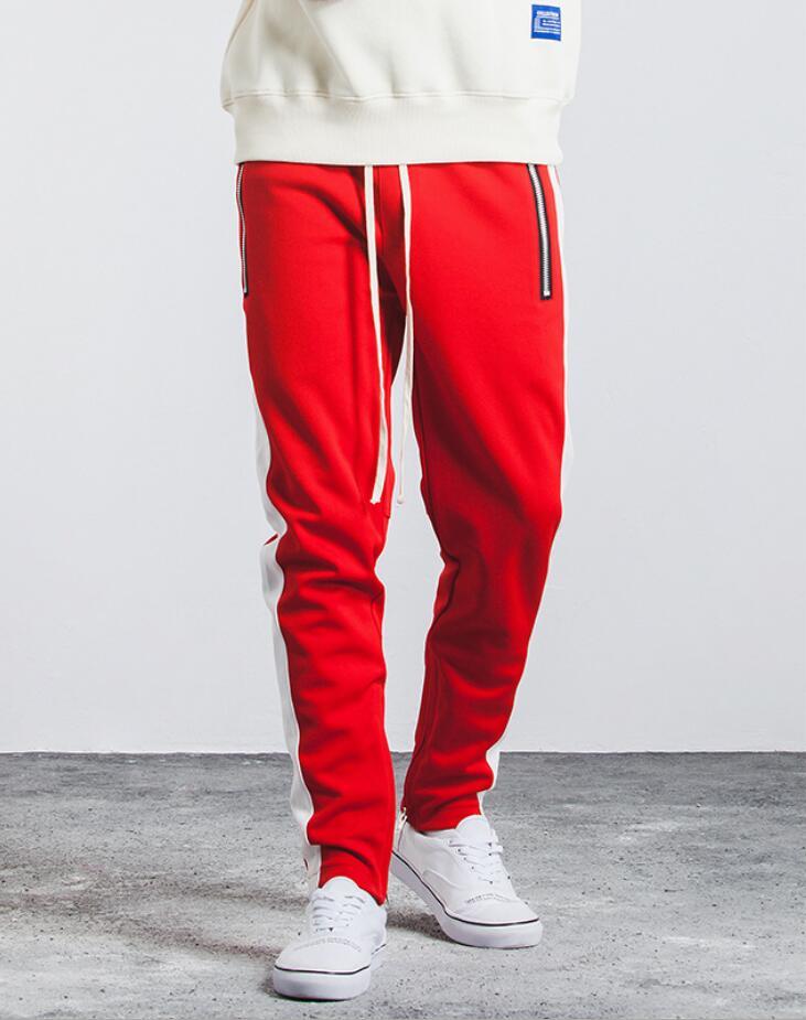 À Vintage De Pantalon 2018 Automne Pantalons New Style Loisirs Côté Éclair Élastique Mâle Fermeture Zipper Hommes Lacent Collège Poche Rayé qvvIEFw4
