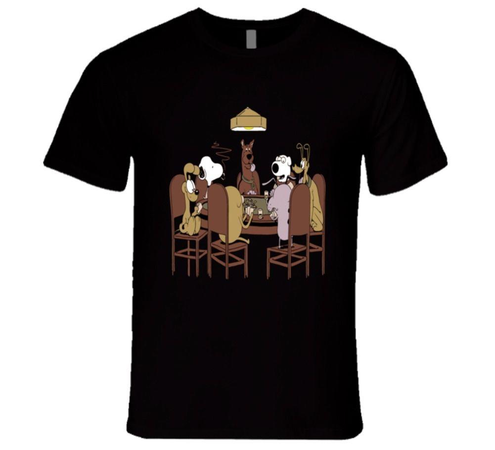 Poker Dog Cartoon Famous Painting Modern T Shirt