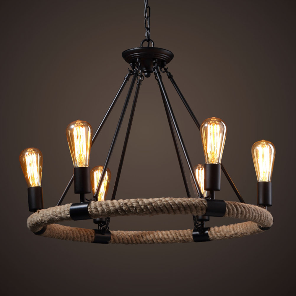 6 light america country vintage wheel pendant light loft for Luminaire suspension 4 lampes