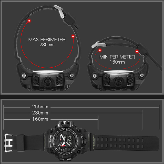 Men Military Watch 50m Waterproof Wristwatch LED Quartz Clock Sport Watch Male relogios masculino Sport S Shock Watch Men