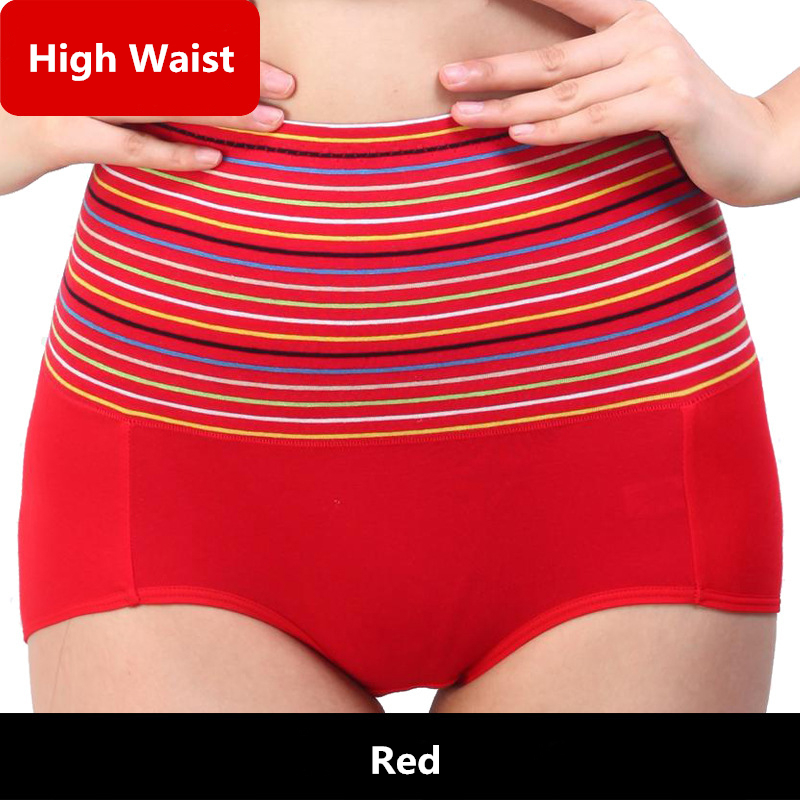 High Waist Underwear Women Panties Striped Cotton Underwear Breathable Briefs Comfortable Woman Panties Culotte Femme
