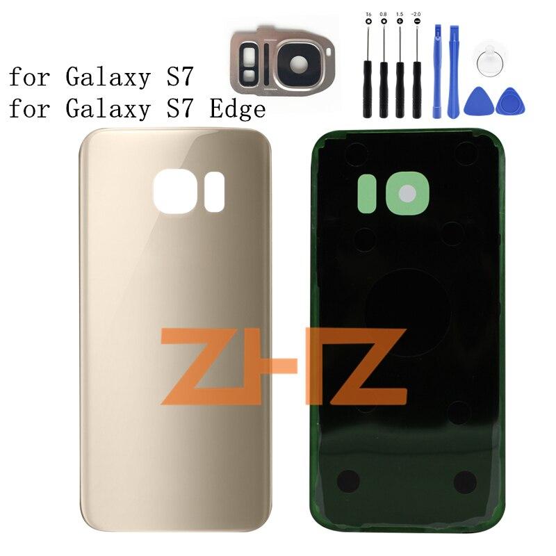 Pour SAMSUNG Galaxy S7 G930/S7 BORD G935 Batterie de Couverture Arrière porte Arrière En Verre Couverture de Batterie + Caméra Lentille En Verre Cadre