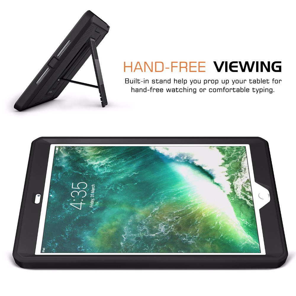 MoKo Case For IPad 9.7 2018/2017 Heavy Duty Shockproof Full Body Rugged Hybrid Cover With Built-in Screen Protector For IPad 9.7