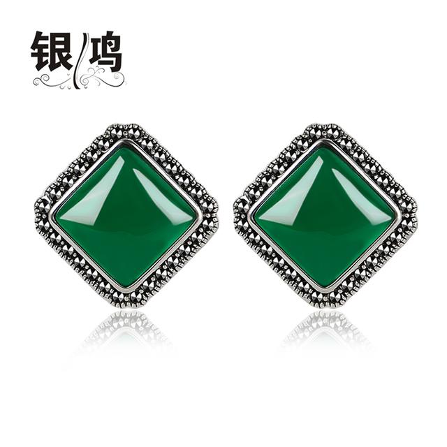 925 Sterling Silver verde Tailandês natural semi-pedras preciosas retro Brincos mulheres jóias ágata verde quadrado presente namorada