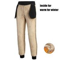 6XL 7XL 8XL Faux Fur Casual Thick Cotton Track Pants Winter Autumn Warm Velvet Trousers Slim