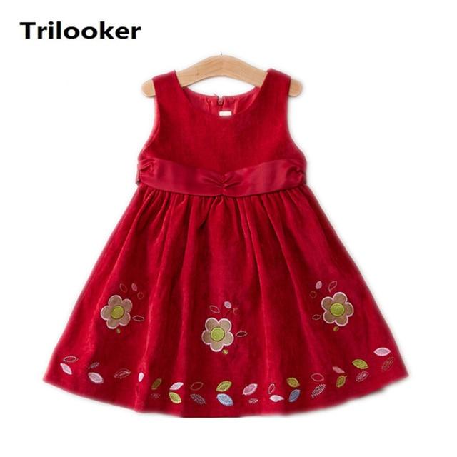 8bdb73cf131cc Enfants filles automne hiver velours d impression de fleur sans manches  princess party robes enfants