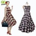 GOPLUS Women Summer Dress 2017 Audrey Hepburn Vintage 50s 60s Vestido Pin Up Dress Sleeveless Women Casual Plaid Big Swing Dress