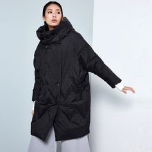 BC045 New Arrival Winter 2016 women oversized cocoon coat double breasted hooded loose long white duck down jacket