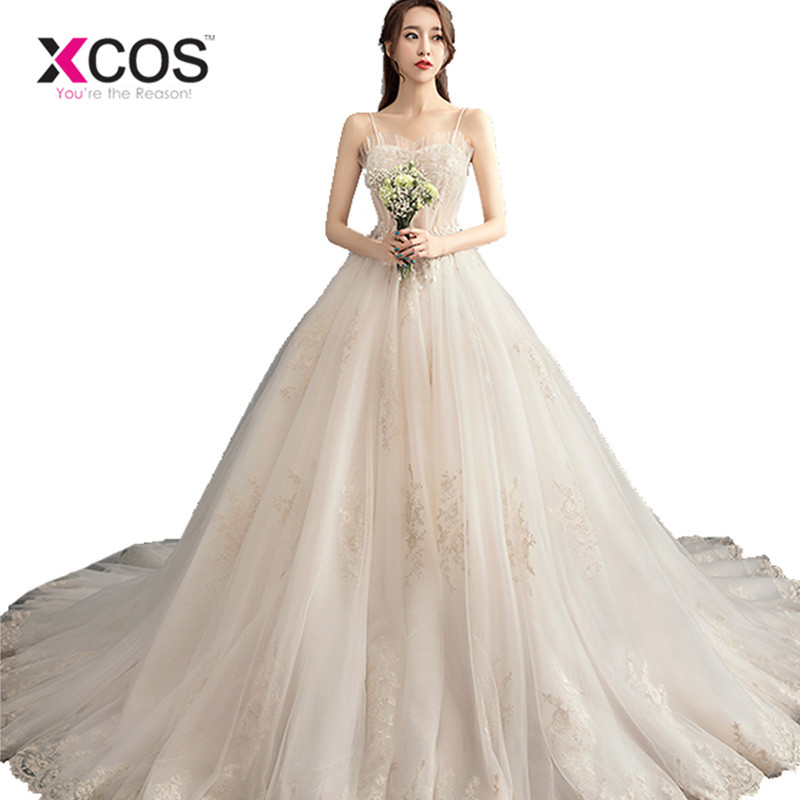 963117266 XCOS Spaghetti Strap Lace Beach Wedding Dresses 2018 Vestido Noiva Praia  Simple Tulle Casamento Sashes Bridal Gown Custom Made ~ Top Deal July 2019
