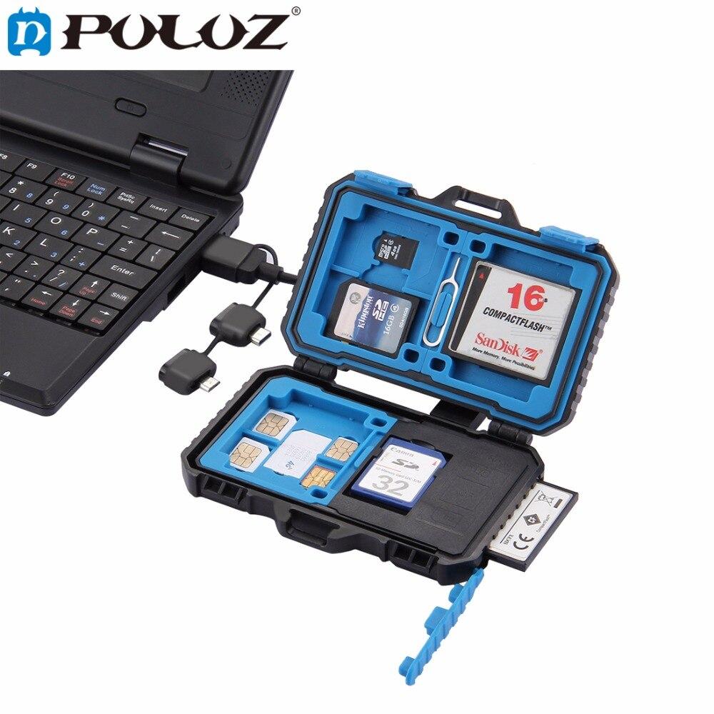 PULUZ + Card Reader 22 em 1 cartão de Memória À Prova D' Água/SD Card Case Caixa De Armazenamento para 1 SIM + Padrão 2Micro-SIM + 2Nano-SIM + 7SD + 6TF + 1 PIN DO CARTÃO
