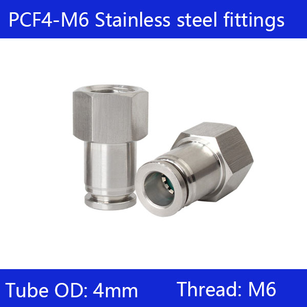 Free shipping 10pcs/lot 6mm to M6 PCF4-M6,304 Stainless Steel Straight Female Connector