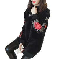 2018 Autumn Rose Embroidery Women thicken Sweatshirts O neck Long Style Plus size Fleeces Floral Pullover Outwear feminino