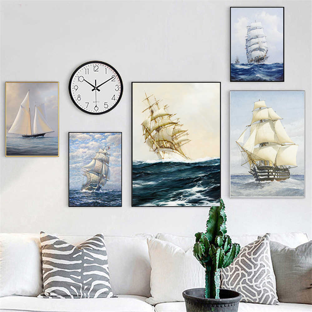 New arrival canvas wall pictures prints on canvas oil painting cuadros decoracion about nostalgic retro ship sailboat painting