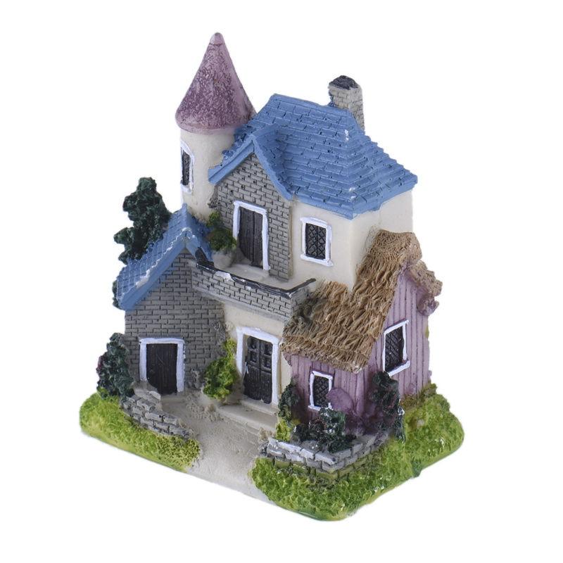 Cute Mini Resin House Miniature House Fairy Garden Micro Landscape Home Garden Decoration Resin Crafts Color Random