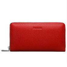 Luxury Genuine Cow Leather Women's Wallet High Quality Durable Day Clutches Purse Bag Deluxe Red Color Business Organizer Wallet(China)