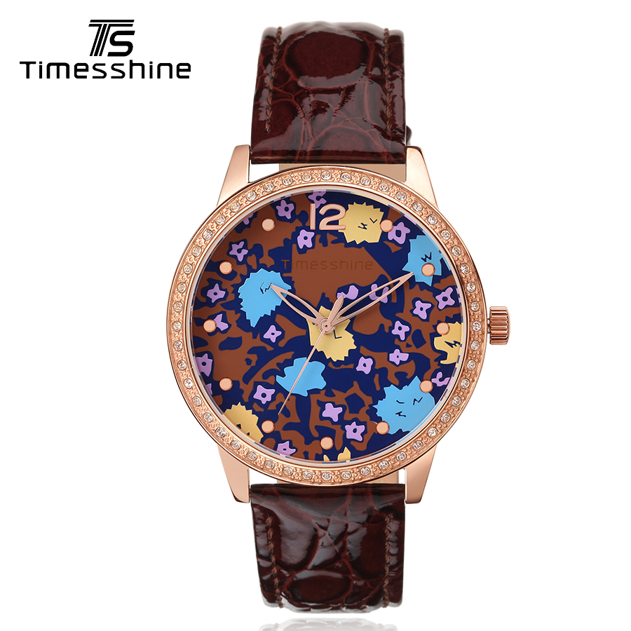 Timesshine Quartz Watch Silver/Rose gold case red/blue Watch leather women clock bracelet Luxury crystal diamond woman watches timesshine women watch quartz watch
