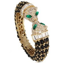 Tuliper Animal Black Kiss Panther Leopard Bracelets & Bangles Austrian Crystal Bangle Party Jewelry Valentine Best Gift