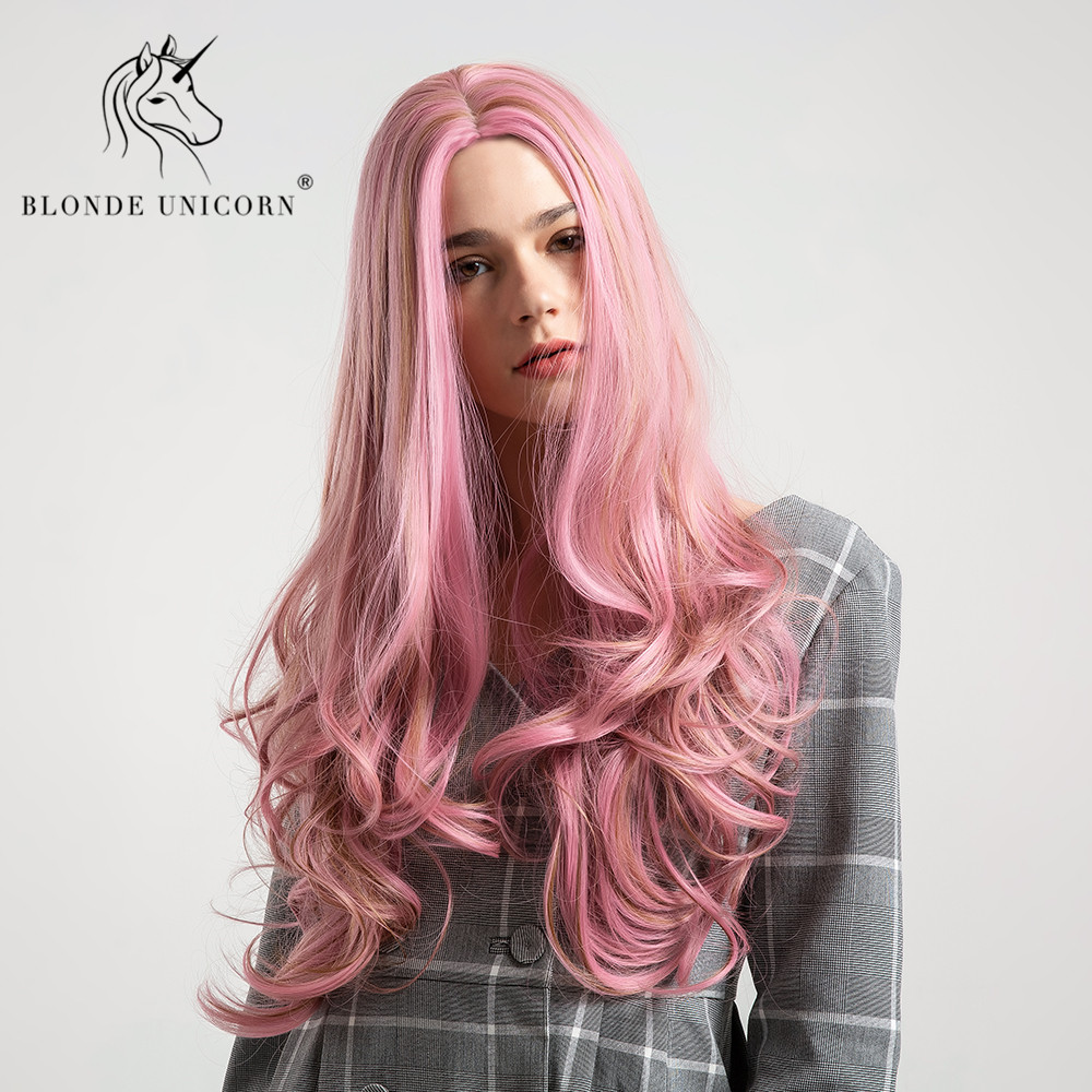 Blonde Unicorn Synthetic Wig 26 Inch Long Wavy Hair Pink Color Wig For Black/White Women Glueless Cosplay Hair Wig Free Shipping