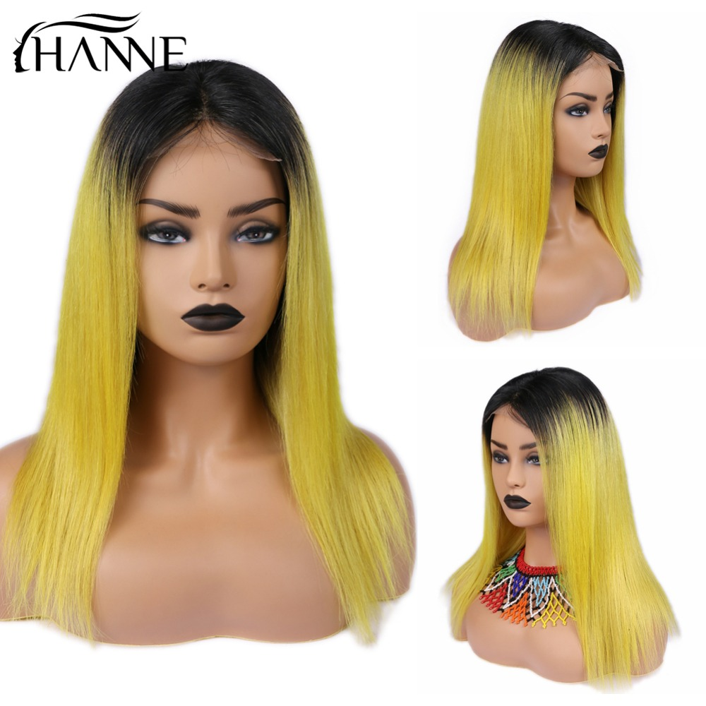 HANNE 4*4 Closure Wig Remy Wig For Black Women Ombre Lemon Yellow Color Human Hair Wigs Straight Brazilian Lace Remy Hair