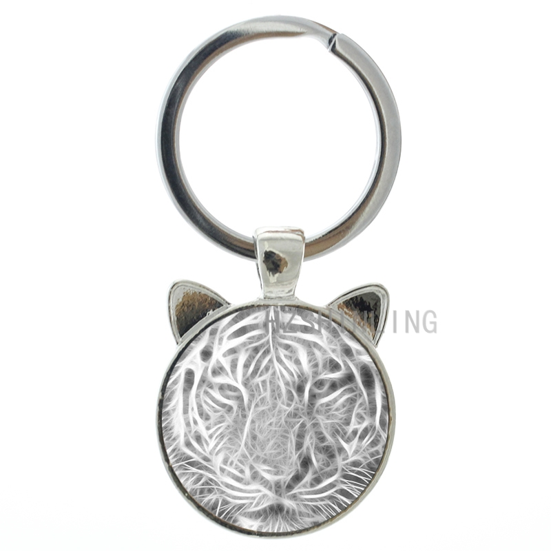 new idea design vintage tiger art ear pendant keychain glass cabochon dome wild animal tiger charms - Ring Design Ideas